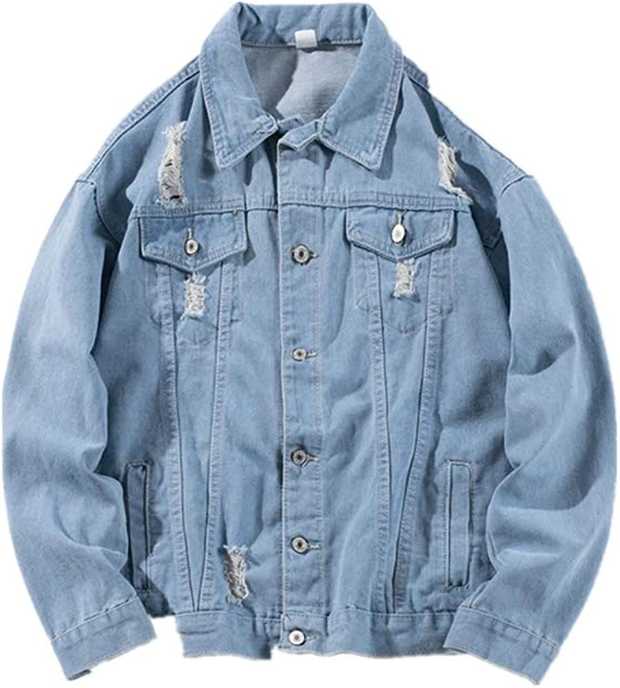 OMINA Mens Printed Denim Jacket 2019 Fashion Casual Winter Oversized Cotton Vintage Wash Distressed Dress Coat