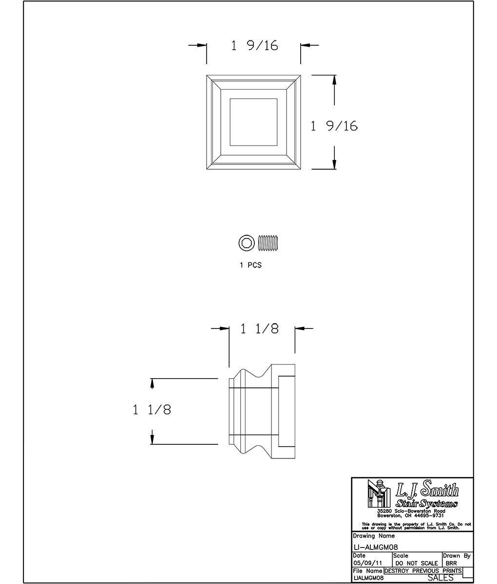 LI-ALMGM08-MB: Aluminum Level Shoe for 3/4'' Hollow Square Aluminum Balusters (Matte Black)
