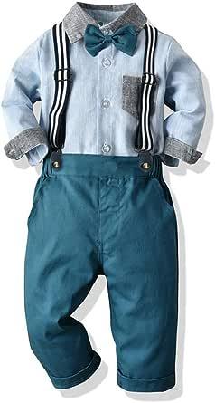 Yokald Ropa Bebe Conjunto Niño Traje de Vestir Conjuntos de Otoño e Invierno Camisa de Manga Larga Pantalón + Pajarita Tirantes Ropa Niño Caballero 6 Meses a 6 años