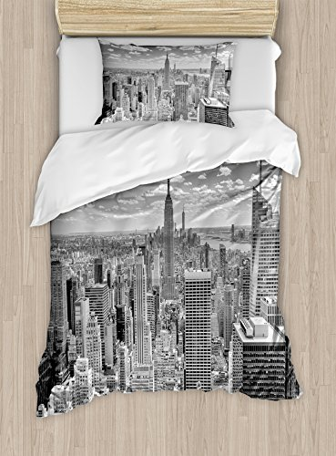 Ambesonne New York Duvet Cover Set Twin Size, NYC Over Manhattan from Top of Skyscrapers Urban Global Culture Artful City Panorama, Decorative 2 Piece Bedding Set with 1 Pillow Sham, (Manhattan Twin Bed)