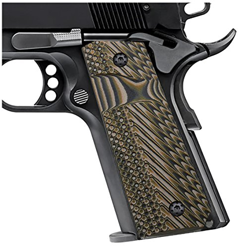 EXEL Cool Hand 1911 Full Size G10 Slim Grips, 3/16 Thin, Big Scoop, Ambi Safety Cut, OPS Texture, These Grips Only Work with Short Bushings,Coyote Color, HH1S-J1S-24