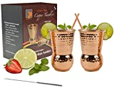 (US) Mix America's favorite cocktail Moscow Mule and accomplish fantastic health benefits when served in Eximius Power Copper Mugs 20 Guage-lasts longer-100% copper cups - Bonus Straws & a cleansing Brush