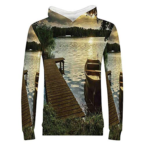 Seascape 3D Printed Child Hoodie,Boat at Lake Shore with Wooden Pier Sunset Sunbeams Romantic Evening for Kids Boys Girls,XL ()