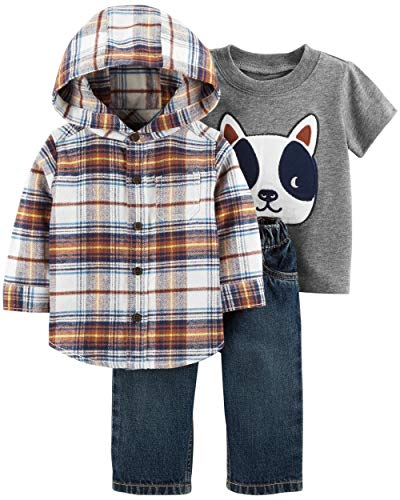 Carter's Baby Boys' 3-Piece Little Jacket Sets (Flannel/French Bulldog, 3 Months)