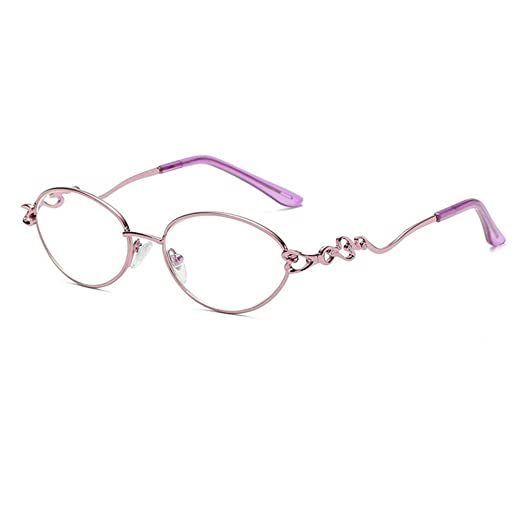 8dc5922e0440 Fulision Female Oval Metal frame Reading Glasses Vintage Eyeglasses Women  Readers (Pink +1.00)