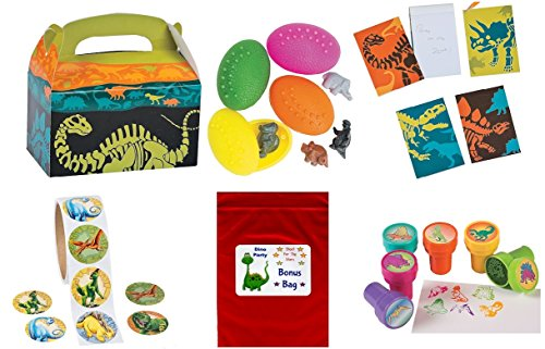 160 pc Dinosaur Kid's Party Favor Bundle Pack (12 Goody favor treat boxes, 12 Stampers, 12 Notepads, 24 Dino Eggs, 100 pc roll stickers, Bonus Bag) (Supplies Dino Party Birthday)