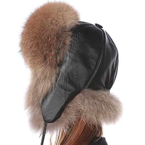 Fox Fur Aviator (Valpeak Womens Winter Real Fox Fur Hat Genuine Leather Russian Trapper Ushanka Hats(Raccoon))