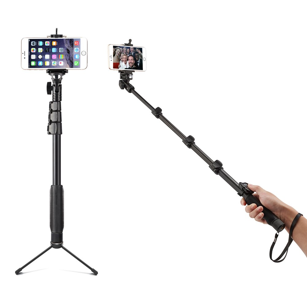 Accmor AC-13TR 18-50-Inch Self-Portrait Extendable Monopod for iOS & Android Phone Bundle with Tripod Stand & Bluetooth Remote Shutter