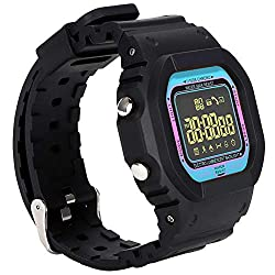 Zopsc Outdoor Sport Watch Waterproof LCD Square Screen Smart Phone Information Reminder Luminous Dial One-Touch Remote Photography Alarm Clock Long Standby Time (Black Pink Orange)(Pink)
