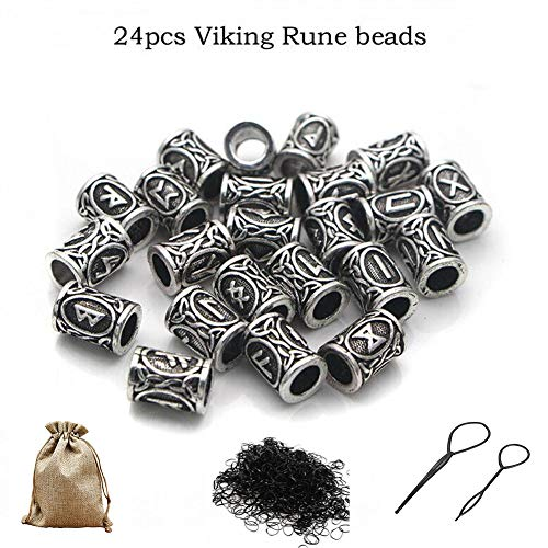 Queta Kit of Rune Viking Beads for Beard and Rubber Bands (CLR: Silver)