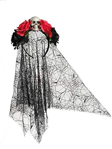 Day of The Dead Headband Bride Veil Fancy Dress Costume Halloween Accessories Rose Flower Crown