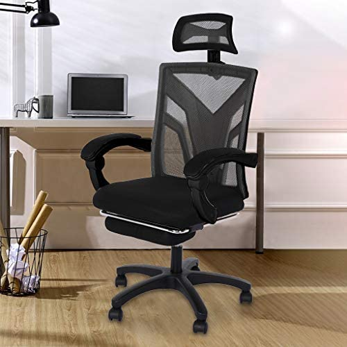 【US in Stock 7 Days Delivery】 Computer Chair Gaming Chair Racing Style Office Chair Adjustable Swivel Rocker Recliner High Back Ergonomic Computer Desk Chair with Footrest (1pc, Black) 51YIyRwUPuL