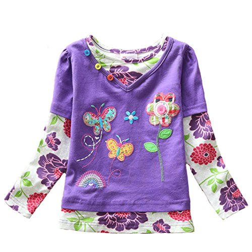 - VIKITA Kid Girl Cotton Long Sleeve Bird Butterfly Flower T Shirt Tee Top Purple 5T, G619PURPLE