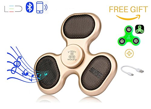 Bluetooth LED Fidget Spinner Speaker and Microphone with Charger Cable Plus Free Gift Glow in the Dark Hand Spinner by Fidget Widgetz EDC Music Player Wireless Phone Connection or SD - The Diy Keyboard Dark Glow In