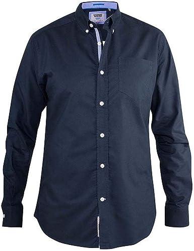 Duke D555 - Camisa de algodón para hombre, talla grande y alta, 2 botones, color azul marino