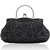 LONGBLE Women's Vintage Style Beaded Sequined Evening Bag Wedding Party Handbag Clutch Purse Kissing Lock(Black A)