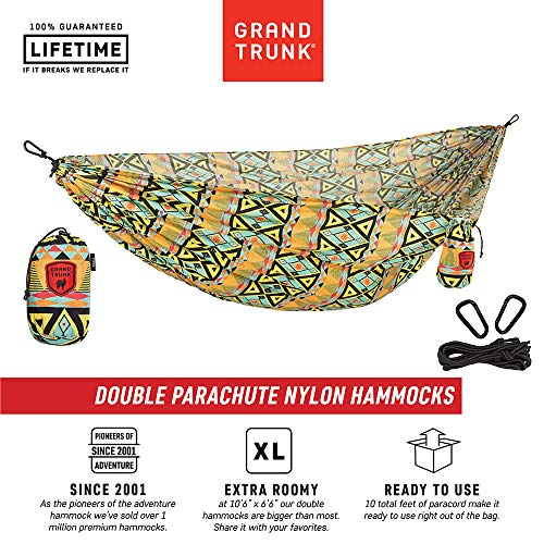Grand Trunk Double Hammock: Print Parachute Nylon with Carabiners and Hanging Kit (Thai Diamonds)