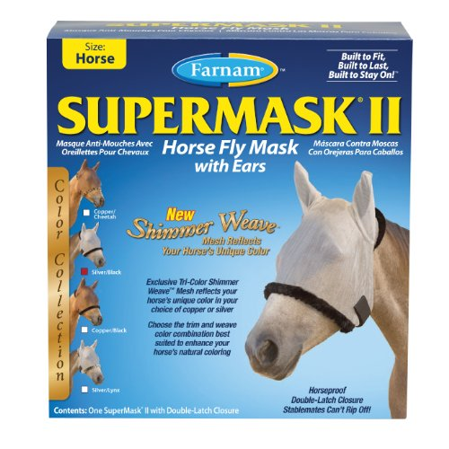 Farnam SuperMask II Shimmer Weave Horse Fly Mask with Ears, Horse size, Silver Mesh with Black Trim by Farnam (Image #2)