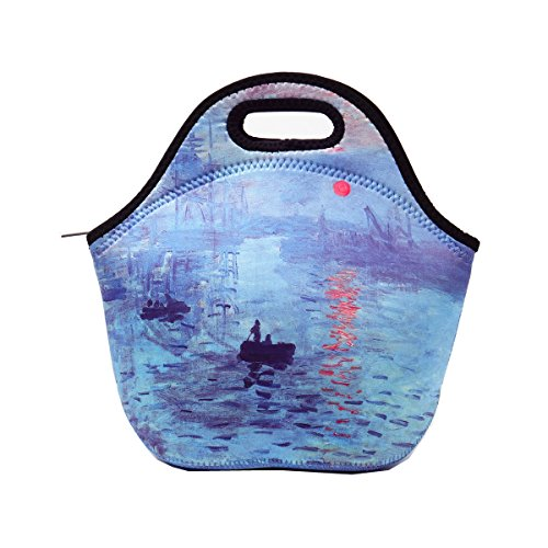 ECO Store Neoprene Lunch Bag - Artistic Designs with Van Gogh / Claude Monet Oil Paintings (Starry Night / Irises / Water Lilies / The Iris Garden at Giverny) (Impression, Sunrise) (Springs Water Sunrise)