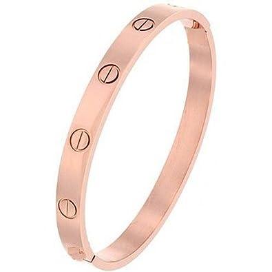 Armreif  Armband Schmuck Armreif mit Schrauben Relief, vergoldet rosa ...