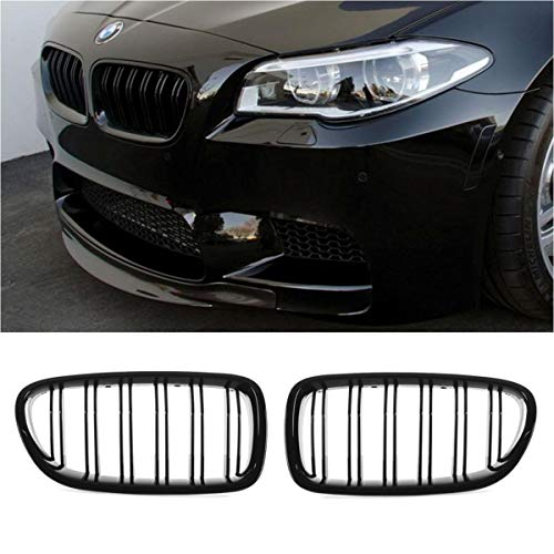 Neutron 2pcs for 2011-2016 BMW F10 F11 5-Series Sedan Wagon BMW 520 528 530 535 550 M5 Glossy Black Kidney Grille Front Bumper Hood ABS Plastic Grille