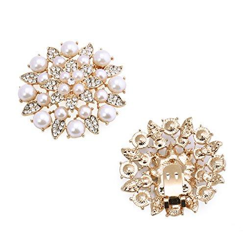 ElegantPark BK Fashion Clips Mujer Accesorios Pearl Rhinstones zapato Clips 2 Pcs Gold