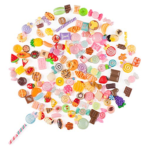 Joyjoz Slime Charms Set- 120pcs Charms for Slime, Cute Christmas Decorations, Flat Back Resin, Candy Sweets, Cabochons Embellishment for DIY Craft Making, Scrapbooking Ornament with Handcrafted Bag -