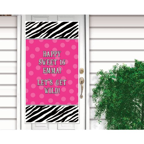 Pink Polka Dots and Black and White Zebra Print Personalize It! Party Door Decoration (1 Piece), Multi Color, 65