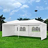 ShopOC 10 x 20 x 8 ft Easy Pop Up Wedding Party Backyard Catering Canopy Tent (White with Removable Sidewalls)