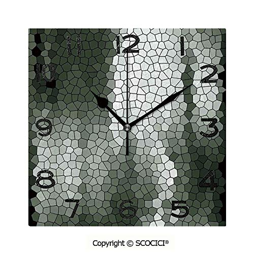 SCOCICI Square Wall Clock Artistic Mosaic Pattern Green and White Tones Geometric Graphic Pixelated Texture 8 inch Morden Wall Clocks Silent Square Decorative - Outdoor Clock Mosaic