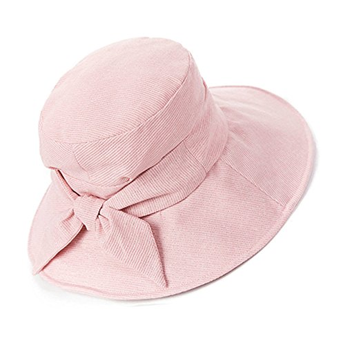 Siggi Bucket Boonie Cord Fishing Cap Summer Sun Hat Linen Bowknot Wide Brim for Women Pink (Packable Cotton)