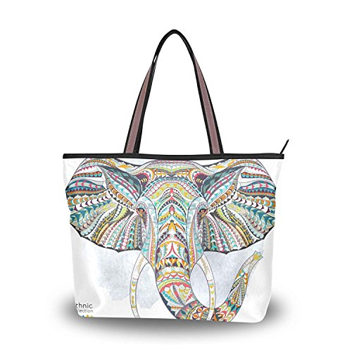 (Funny Print African Tattoo Elephant Tote Bag Top Handle Handbag Shoulder Bag Large Capacity)