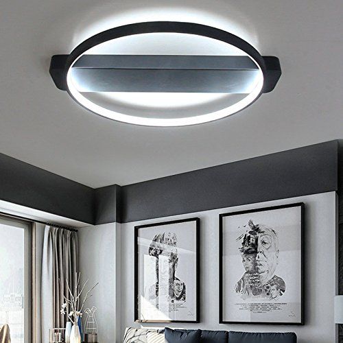 LightInTheBox LED Ceiling Light Flush Mount Bedroom, Living Room Lighting Fixture Painting Finish Lamp Voltage=100-240V, Warm White Light Source,Black Color