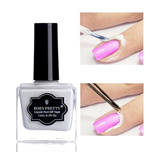 (Born Pretty Nail Art Latex Tape Peel Off Liquid Nail Polish Barrier Black Nail Base Color Manicure Collection (Nail Barrier))
