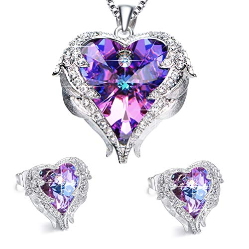 EleShow Love Heart Pendant Necklaces Gifts Jewelry for Women (Purple Set) - Pendant Jewelry Necklace Set