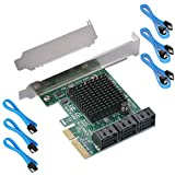 Ziyituod 6 Port SATA Card, PCIe SATA III Controller Card to 6GB/s Internal Adapter Converter | PCI Express SATA 3.0 Expansion Card, Support 6 SATA 3.0 Devices for Desktop PC/Server/NAS