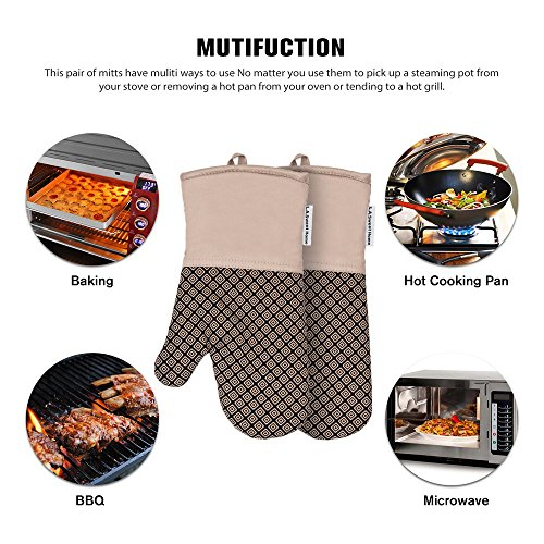 LA Sweet Home Silicone Oven Mitts Greek Key Pattern Heat Resistant Potholders Cooking Gloves Non-Slip Barbecue Gloves, Pot Holders as Gift 1 Pair (Red) by by LA Sweet Home (Image #3)