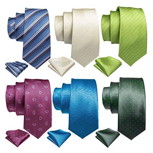 Barry.Wang Men's Tie Set Silk Wedding Neckties Jacquard Woven Fashion Formal Business (6PCS Tie Set-5)