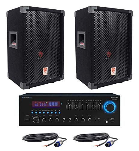2 Rockville RSG8 8 300W Passive DJ/PA Speakers+Technical Pro RX55URIBT Receiver ()