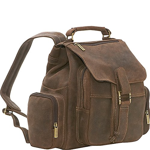 le-donne-leather-distressed-leather-multi-pocket-back-pack-chocolate