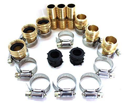 3/4 Inch - GARDEN HOSE REPAIR MENDER KIT: Brass Barbed Fittings (NO LEAD) with Stainless Steel Clamp for Each Fitting. Includes 3-Male, 3-Female, 3-Mender fittings and 10 extra Hose Washers.