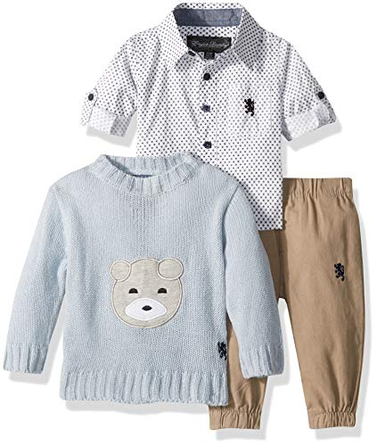 English Laundry Baby Boys Long Sleeve Woven, Pullover Sweater, and Khaki Pant Set, Multi Plaid, 6-9 Months