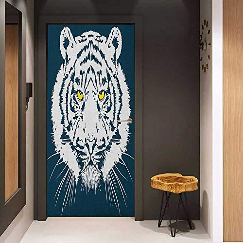 (Door Sticker Tiger Aggressive Depiction of a Giant Furry Feline Majestic Animal Mascot of Asia Glass Film for Home Office W32 x H80 Petrol Blue White)