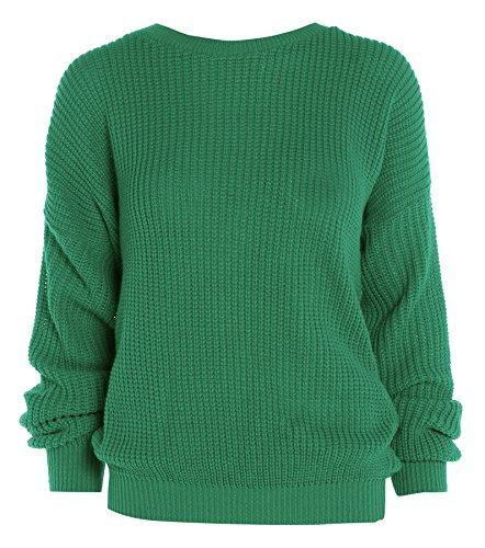 Ladies Womens gran tamaño Baggy Plain – Ovillo de jersey de punto grueso de punto largo Top Jumper UK 8 –�?4 Verde
