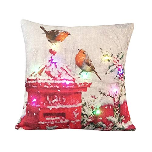 Toponly Home Décor Christmas Colorful LED Lights Linen Pillowcase Print