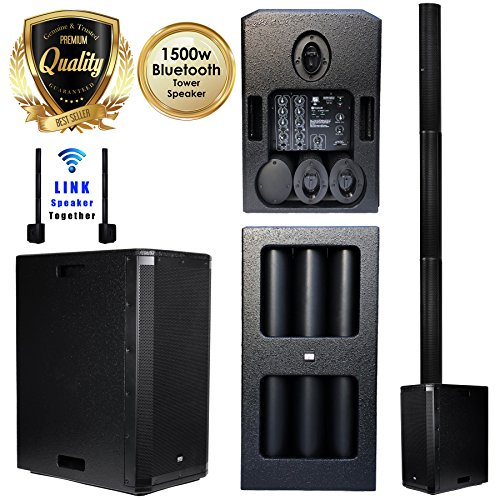 EMB 10BT PK1 1500W Tower Bluetooth All-in-One Linear Array PA Portable Linkable Speaker - Perfect for Home/Karaoke / Birthday/DJ Party/Meeting / Camp/Jobsite / Construction ()