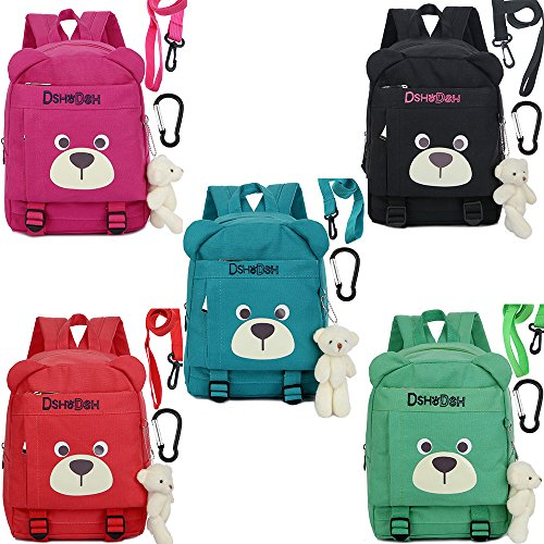 Amazon.com | Cotton Kids Children Backpack with Safety Harness Organizer Bear for Girls(Red) | Kids Backpacks