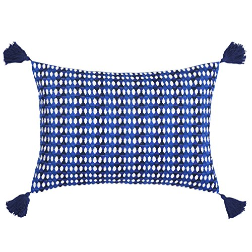 Trina Turk USHSA71050502 Samba De Roda Allover Triangle Throw Pillow, 14x20 inch, Dark Blue