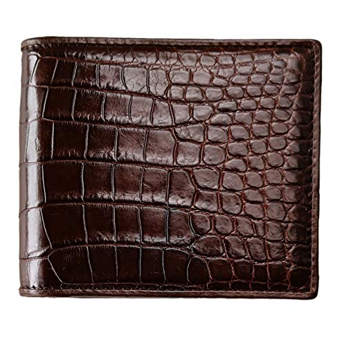 CHERRY CHICK Men's Luxury Crocodile Skin Bifold Thin Wallet Alligator Leather -