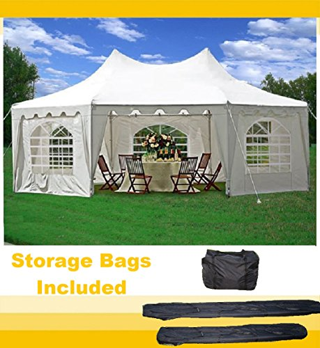 29'x21' Decagonal Wedding Party Tent Canopy Gazebo Heavy Duty Water Resistant White (Poly Octagon Window)